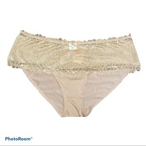 Deesse cream and pink lace full brief 4X